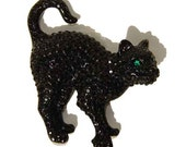 Swarovski Black Cat Brooch Crystal Rhinestone Pin RETIRED