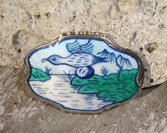 Antique Tostrup Brooch Art Nouveau Sterling Guilloche Enamel Bird Pin - Monster Bestkyttet