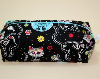 Boxy Makeup Bag - Sugar Skull Cats Zipper - Pencil Pouch