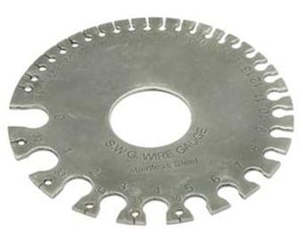 Wire Gauge Ruler, Round Ruler Gauge, Stainless Steel S.W.G Gauge Measure Wire and Findings - 1-36 Gauge - SKU:501032