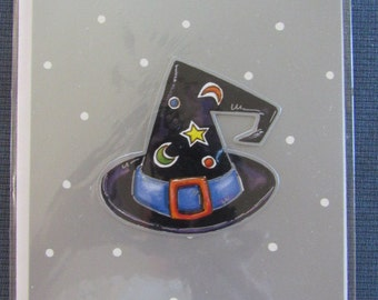 Magical Vintage Handmade HALLOWEEN Greeting Card Witch Wizard Hat Blank Inside