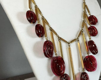 Antique Art Deco Goldtone Necklace Cranberry Red Swirl Glass Beads