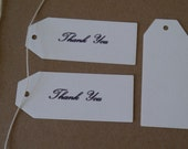 """24 x cream/ ivory thank you tags 2.3/4"""". x1.1/4"""" gifts,wedding,favors,party"""