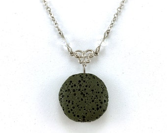 Green Lava Stone Necklace, Essential Oil Jewelry, Aromatherapy Necklace, Lava Bead Jewelry, Lava Diffuser Necklace, Swarovski Crystals