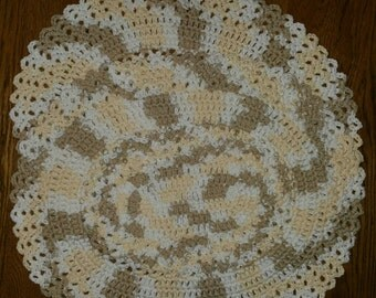Crochet Cotton Oval Place mats set of 2 in Queen Anns Lace