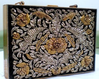 Vintage Evening Bag Compact or Minaudière Goldwork Compact Lipstick Holder Necessaire