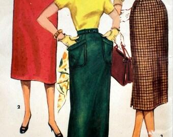 Vintage 1950s Slim Skirt Pattern Simplicity 1229 Waist 30 Wiggle Skirt Pattern Rockabilly Factory Folded
