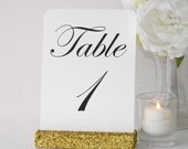Gold Glitter Table Number-Gold Glitter Table Number Holder (5inch)- Set of 10