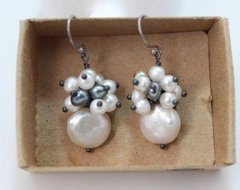 White Coin Pearl Cluster Earring