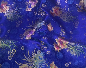 Blue Floral Medallions - Faux Silk Brocade Fabric - 1 Yard