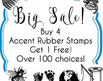 Buy 4, 1 Free - Accent Tiny Rubber Stamps - Over 100 choices - Handmade by Blossom Stamps