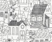 Row by Row 2016 Neighborhood Scenic Outline Cotton Fabric Timeless Treasures 1 Yard