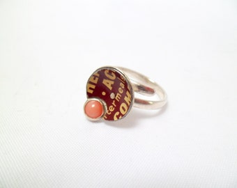 Chocolate and Marshmallow. Ring of silver, reclaimed vintage tins, coral.