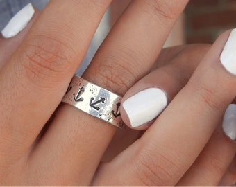 Nautical Jewelry, Nautical Ring, Anchor Ring, Anchor Jewelry, Nautical Anchors Ring, Sterling Silver Anchor Ring, Vintage Anchor Tattoo Ring