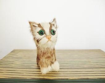 vintage cat figurine miniature fur kitten