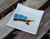Bluebird Family Spoon Rest Little Fused Glass Dish - Trinket Dish - Soap Dish