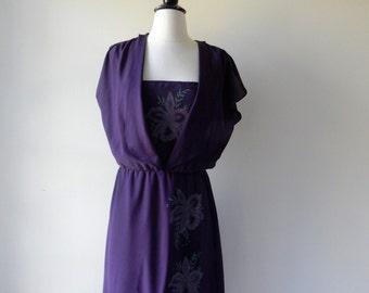 Illusion dress | vintage 1970s dress | floral 70s dress