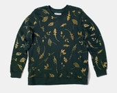 Allover Print Sweatshirt - Green Herbal Silhouette