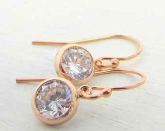 Rose Gold CZ Earrings | Bezel Set Cubic Zirconia | Bridal Jewelry | Bridesmaids Earrings | Eriadesigns