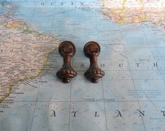 SALE! 2 small vintage distressed brass metal drop pulls w/round trimplates