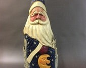 HAND CARVED original Santa with man in the moon from 100 year old Cottonwood Bark.