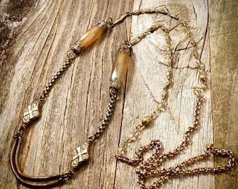 4 Chain Agate Watch Fob // Antique Necklace