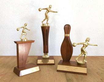 Set of Three Women's Bowling Trophies