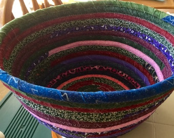 Large Bohemian Coiled Fabric Cotton Basket Bowl or Pet Bed - Chicken Egg Collection - Purple  Blue Green Cranberry -  handmade