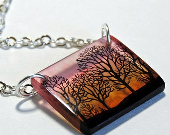 Trees at dawn necklace, tranlucent resin necklace, pink sky necklace, gifts under 25