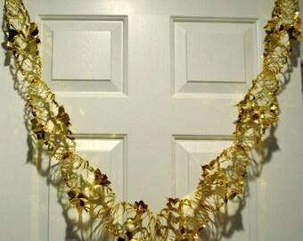 Set of 2 Goldtone Honeycomb Foil Christmas garlands