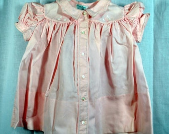 Size 9 Months Vintage 50s Pink Baby Girl Dress - Embroidery and Cutwork - Made in the Philippines