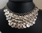 Silver Textured Disk Gypsy Layered Statement Necklace, Belly Dance, Dancer, Choker, 14-17 inches