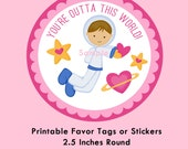 Space Valentines, Astronaut Boy Instant Download Tags or Stickers --- Digital File of 12 2.5 inch Round Stickers or Tags