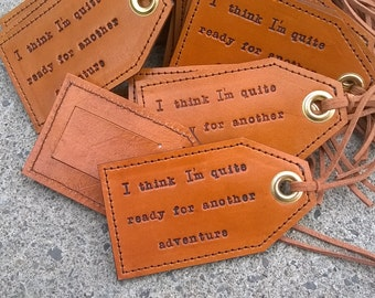 Free shipping - Destination Wedding Leather Luggage Tags with Privacy Flap on the Reverse side - 25 tags