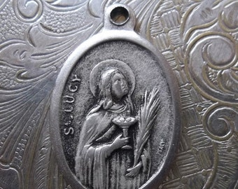 CLEARANCE Saint Lucy Pray For Us Patron Of The Blind 1950's Italian Silver Medal, Those With Visual Impairment Or Blindness