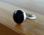 Black Onyx Ring, Onyx Gemstone Ring, Black Stone Ring, Silver round Stone Ring, Gemstone Ring, bridal ring,Christmas gift, gift for her