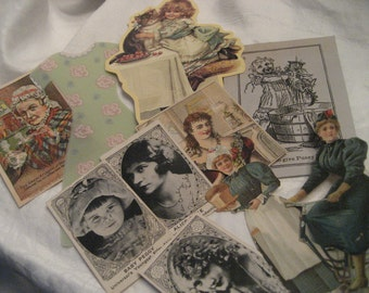 Lot of 10 VINTAGE Paper Scrapbooking Collage Women Paper Empherema