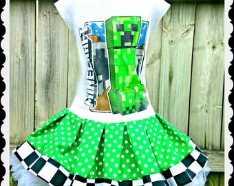 girls Minecraft dress girls creeper girls mine craft 4/5 6/6X 7/8 10/12 and 14/16