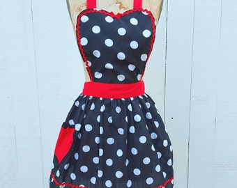 RETRO APRON I love Lucy ... retro red black polka dot womens full apron flirty hostess gift vintage inspired I love Lucy