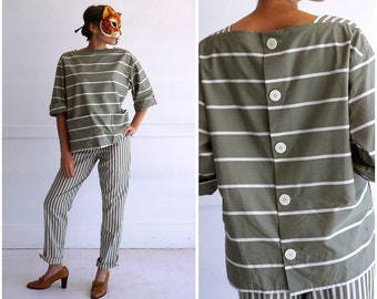 NWT Deadstock Vintage Khaki Sage Green Striped 80s Loungewear Contrasting Oversized Pantsuit by Bill Blass from I.Magnin | Small/Medium