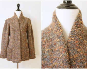 Cozy Vintage 70's Heavy Felted Mohair Wool Open Cardigan Sweater | Medium Large