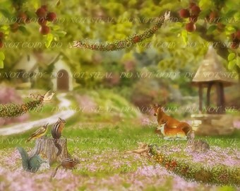 Snow White Woodland Background for Digital imaging or scrapbooking projects