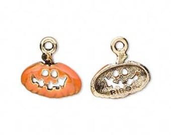 Halloween Pumpkin Charm, Gold-finished with Orange enamel.