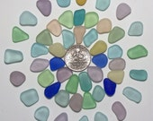 Small Color Brights (50) Cobalt Teal Peach etc Jewelry Quality Genuine Beach Sea Glass Lot (B8)