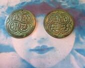Verdigris Patina Brass Floral Celtic Medallions 1180VER x2