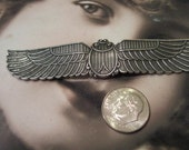 Sterling Silver Ox Plated Brass Large Winged Scarab Stamping Bent or Straight  796SOX x1