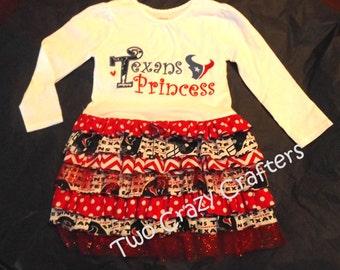 Texans Princess Ruffle T-Shirt Dress, NFL, Houston, Spirit, Mascot, Red, White, Blue, Sports