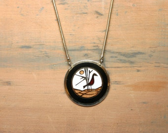 Vtg de Passille Sylvestre Large Bird Enamel Pendant Medallion Necklace - Gold Color Chain - Quebec