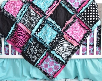 Zebra Crib Bedding Paris Theme Bedroom- Turquoise / Black / Pink Girls Bedding - Girl Crib Set - Baby Blanket / Bumpers / Sheet / Crib Skirt
