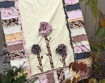 Floral Quilt - Yellow / Brown / Pink Bedding - Rag Quilt Throw- Boho Quilt Whimsical Nursery- Princess Nursery Toddler Duvet- Baby Rag Quilt